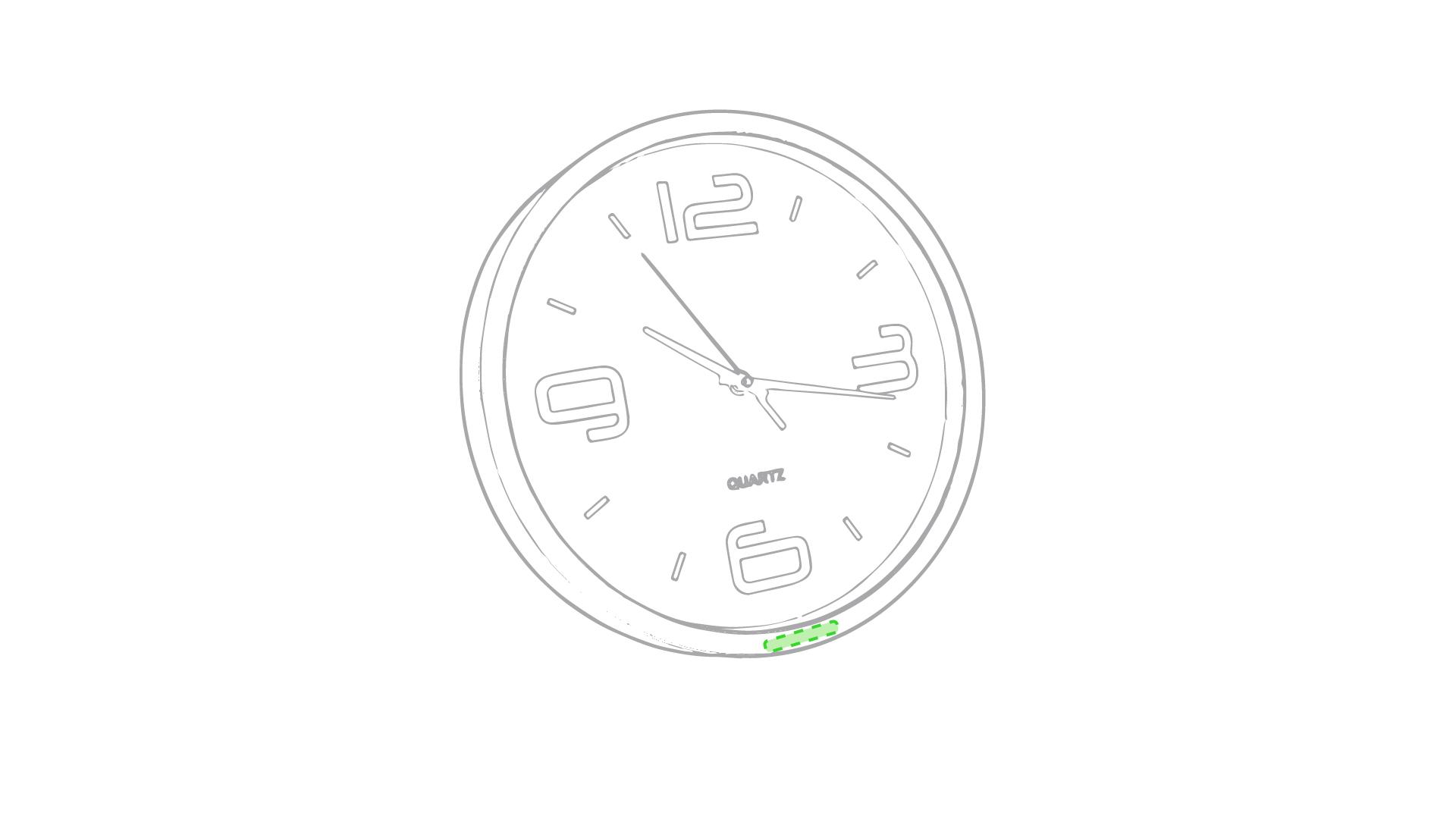 En el marco del reloj, zona inferior