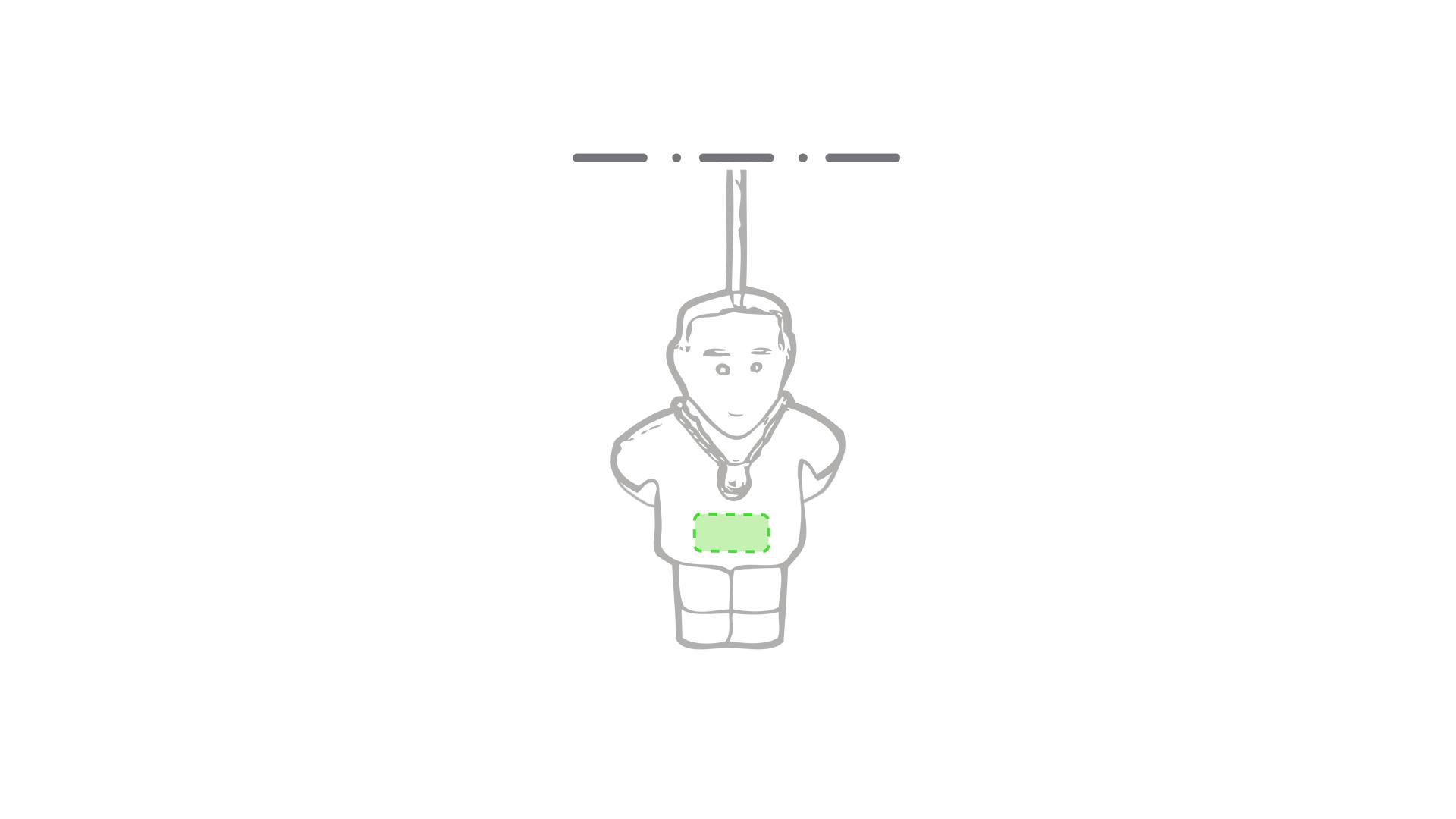 Zona frontal inferior de la camiseta hombre