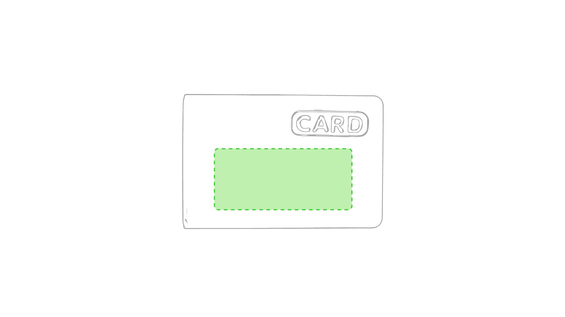 En la parte mas ancha, debajo de CARD