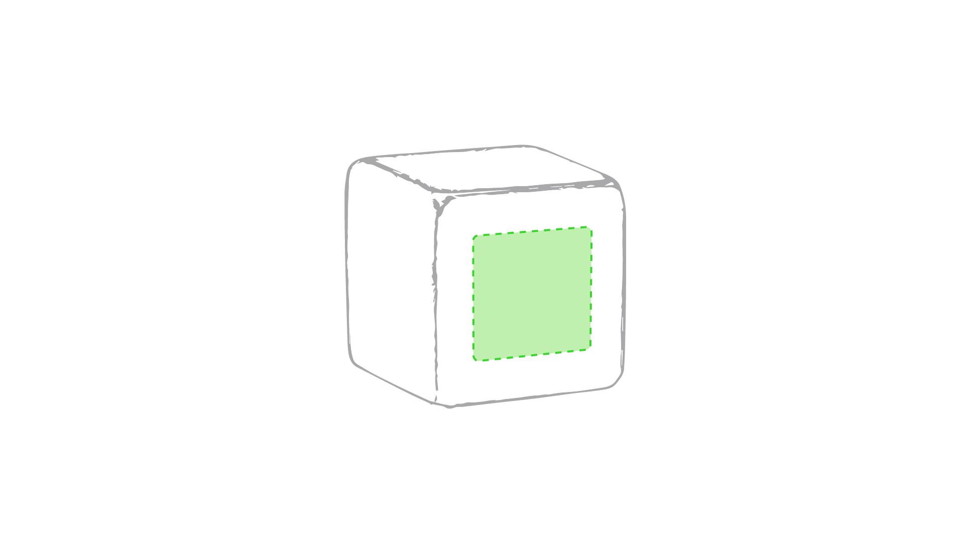 En una de las caras del cubo
