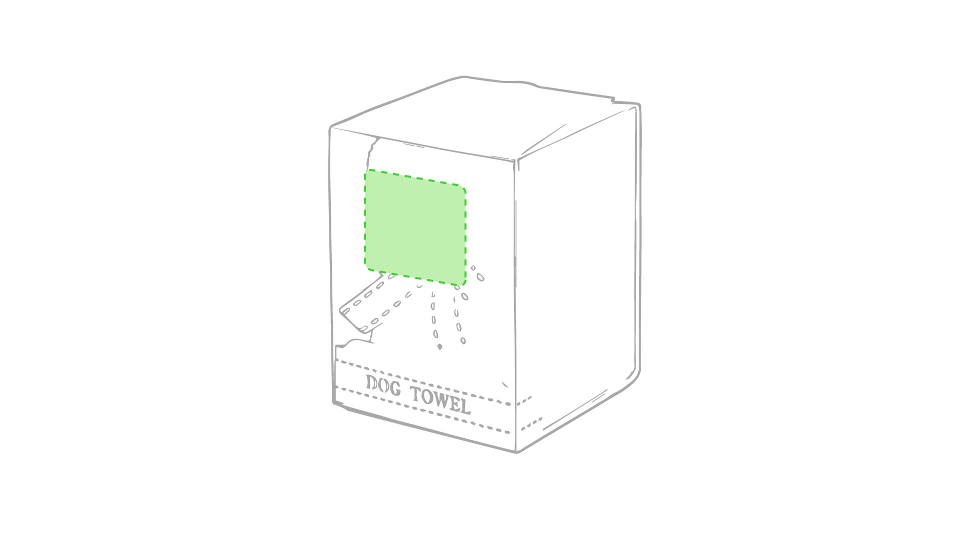 En el frente de la caja