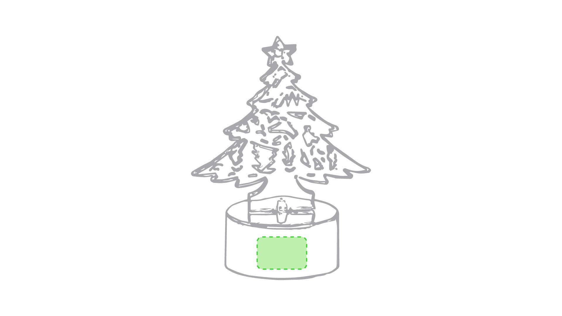 En la base del arbol de navidad
