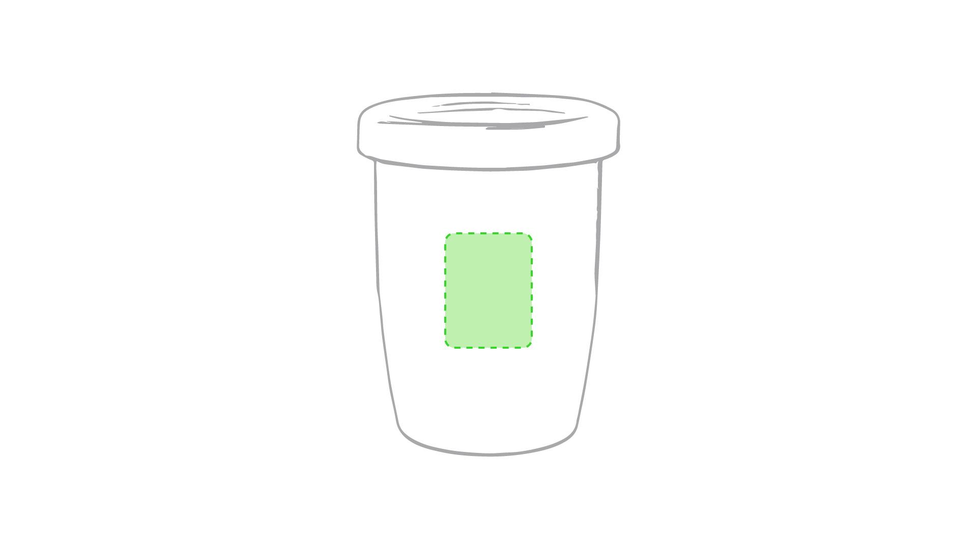 Centrado en el frente de la taza