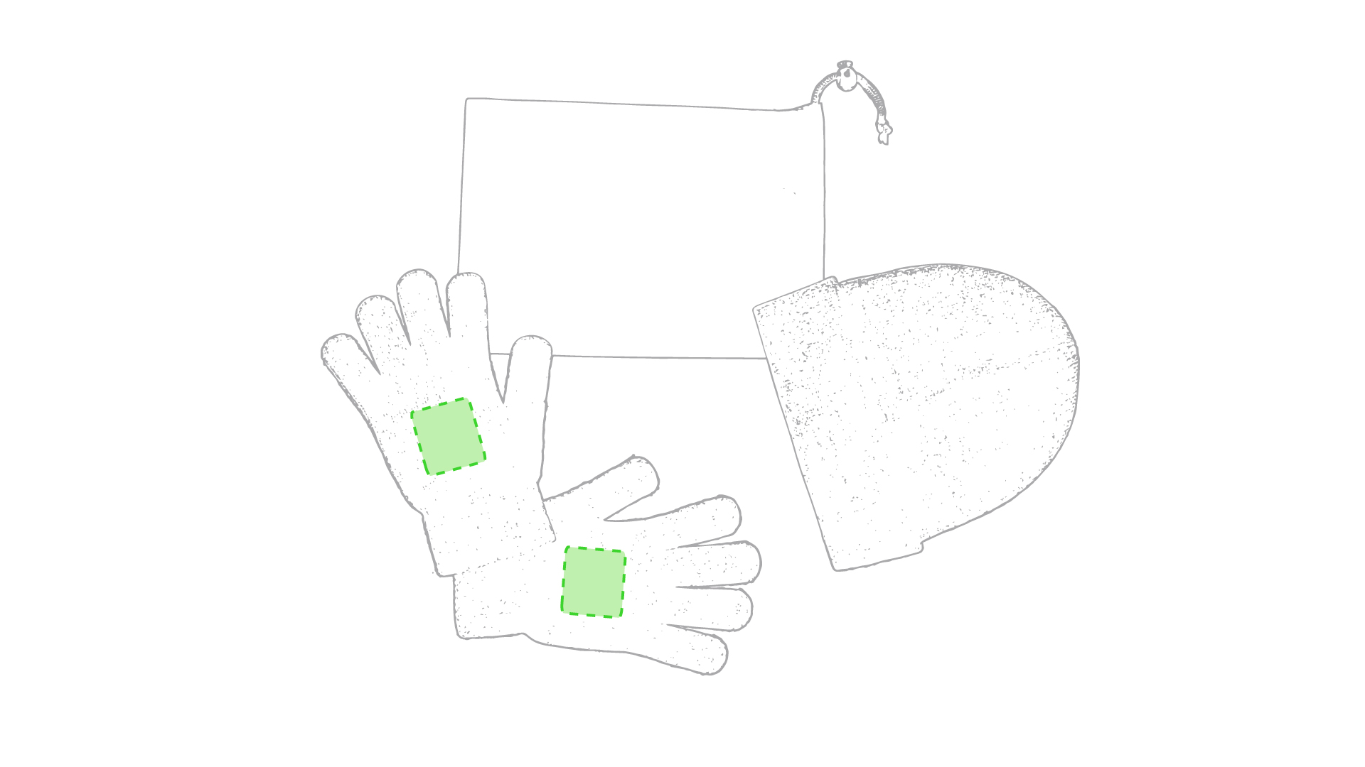Centrado en ambos guantes