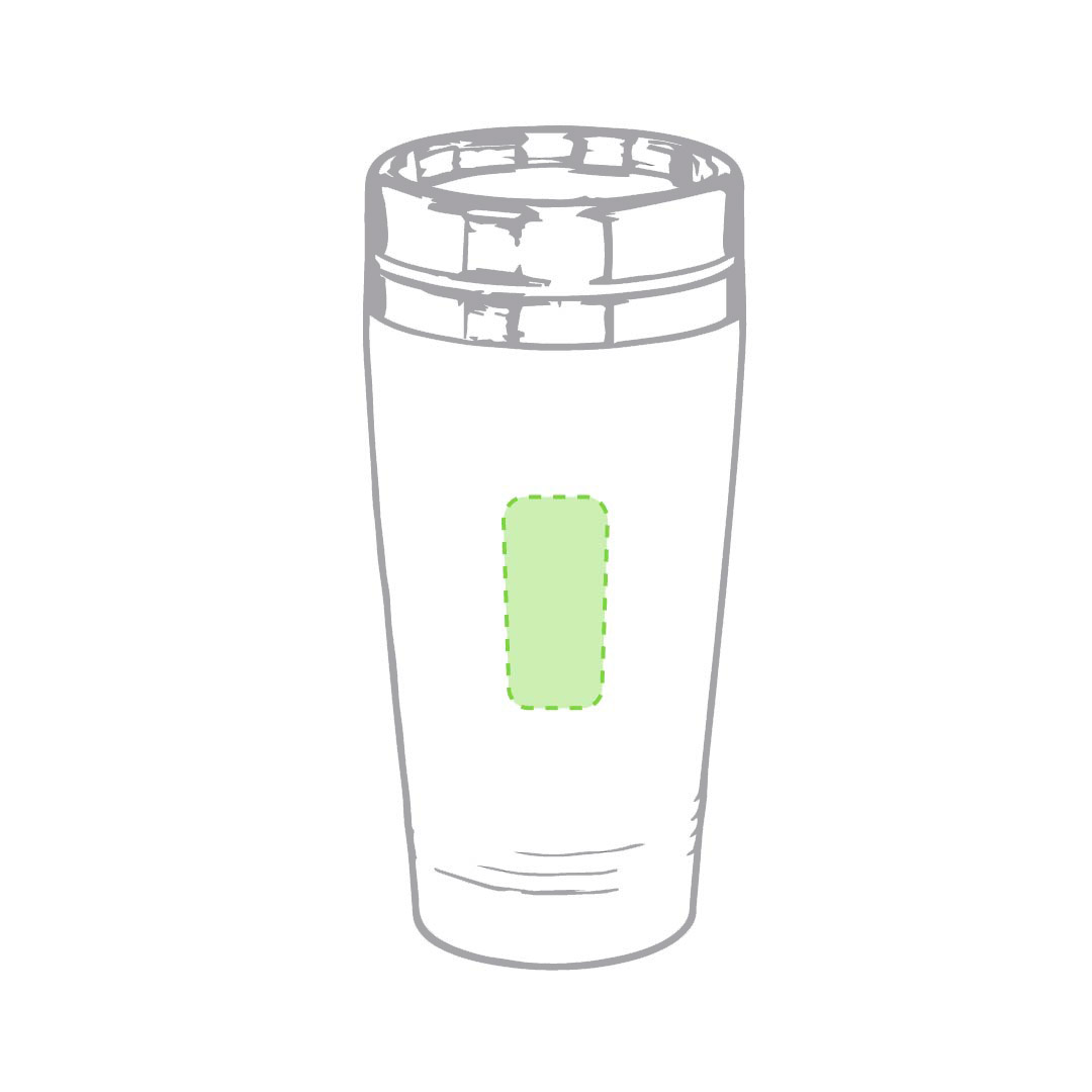 En el frente del vaso