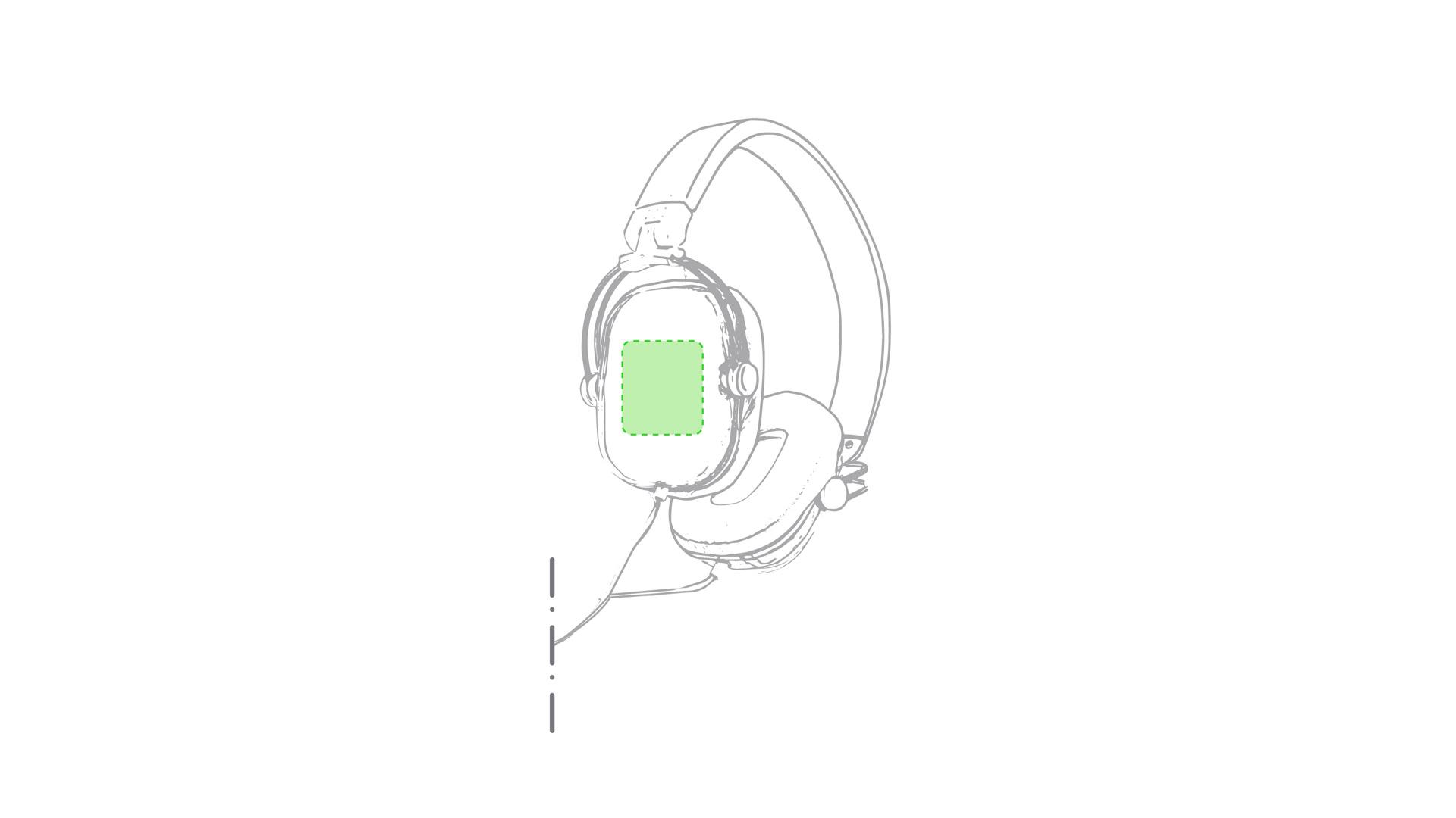 Sobre el auricular derecho