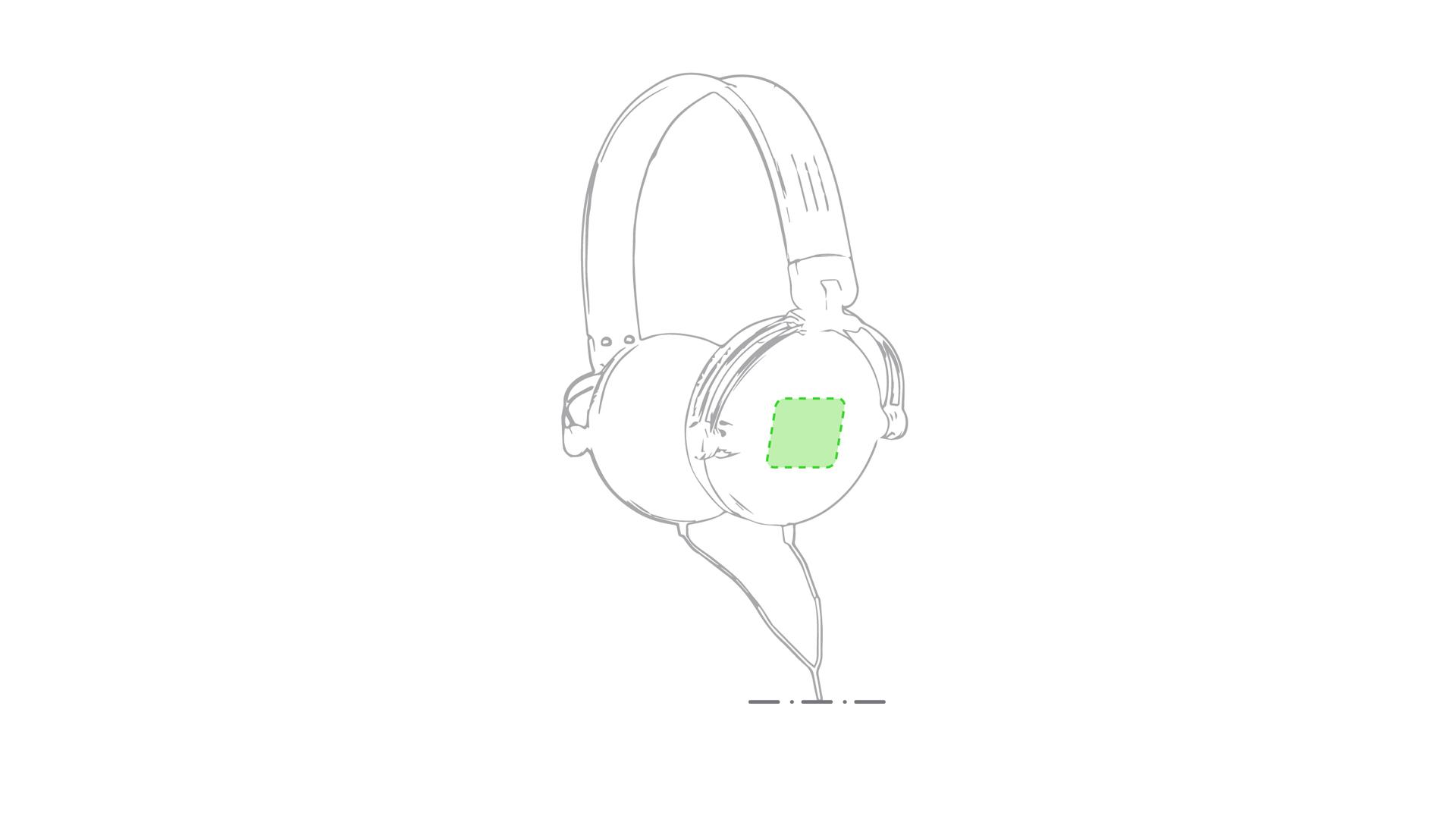 Sobre el auricular derechos