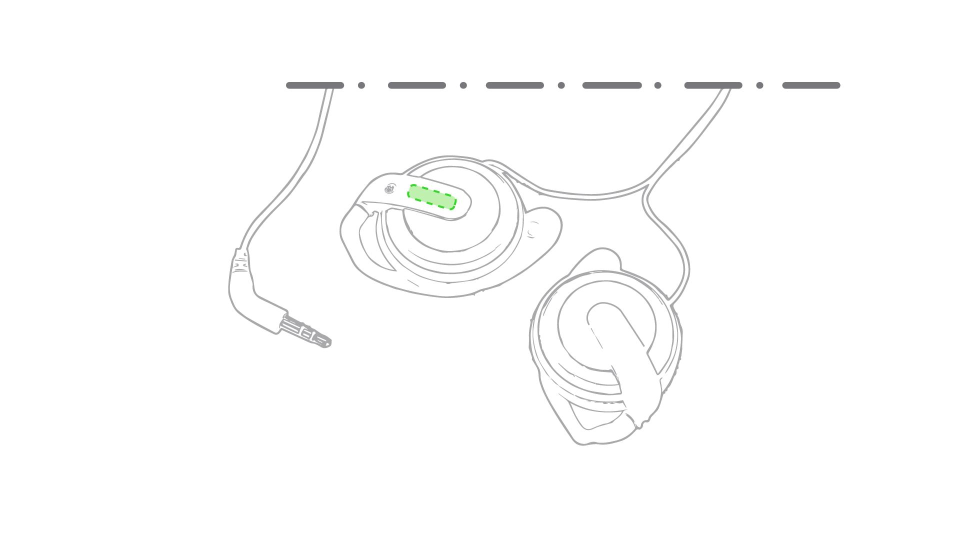 En la pestaña del auricular derecho