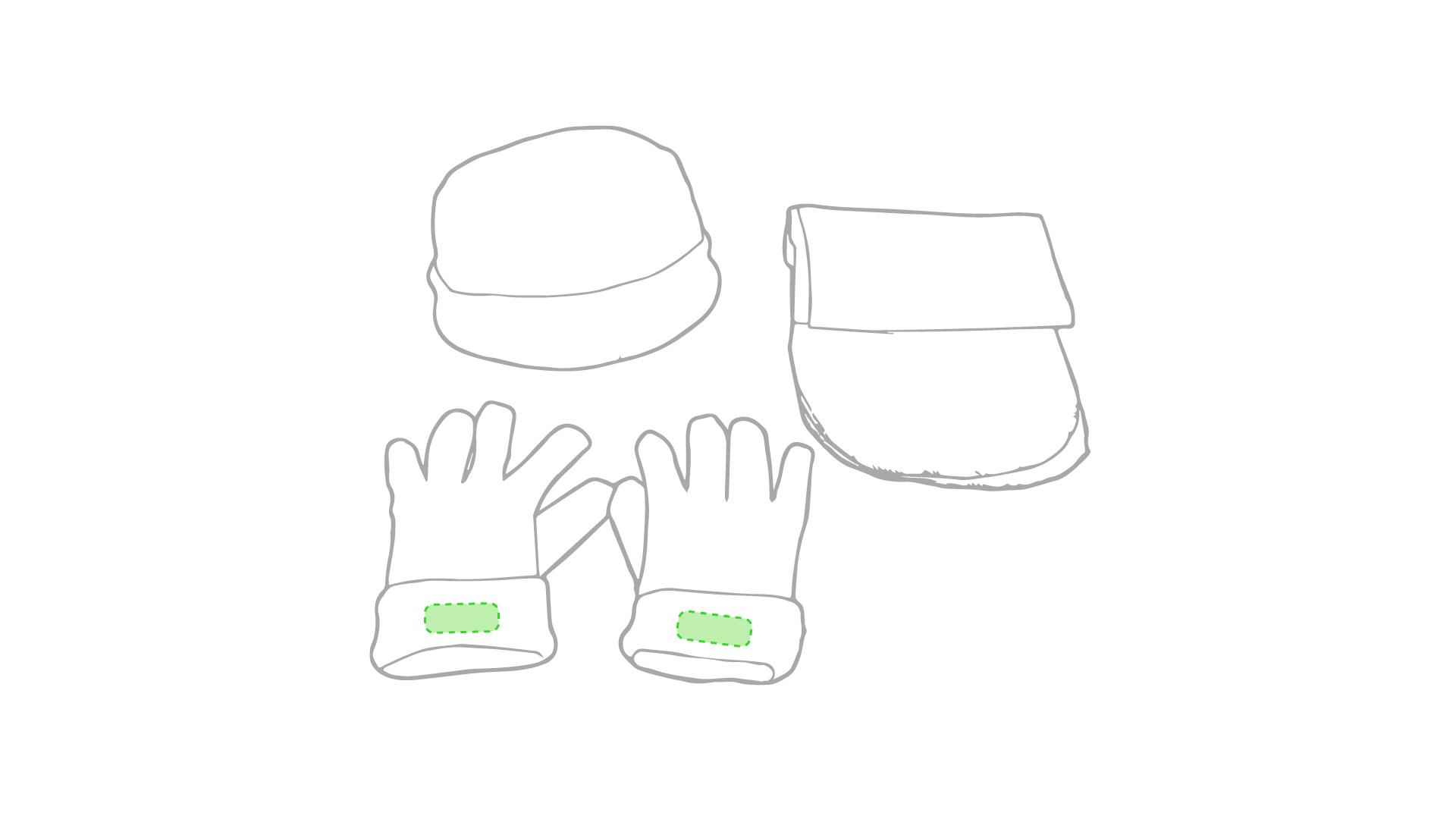 En el puño de ambos guantes